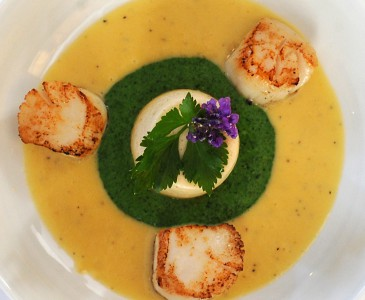 Langoustine flan with scallops and watercress