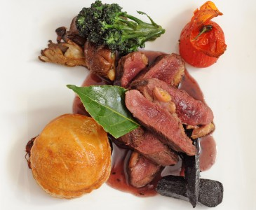 Roasted wild duck with black garlic pie