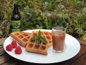 Yorkshire Day waffles with Ilkley beer and rhubarb coulis