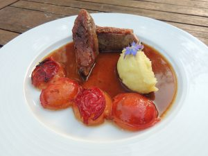 Roasted duck breast with Victoria plum and verbena sauce - autumn