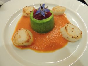 Watercress Flan, Tomato Coulis, Roasted Scallops and Beetroot Foam
