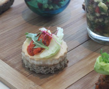Mushroom and tomato caviar on a toast