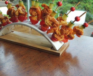Tandoori gambas on a skewer