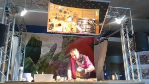 Yves demonstrating his assiette of chocolate desserts at Living North LIVE