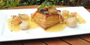 Scallop Vol-au-Vent with Gamba and Wild Mushroom, Champagne Beurre Blanc